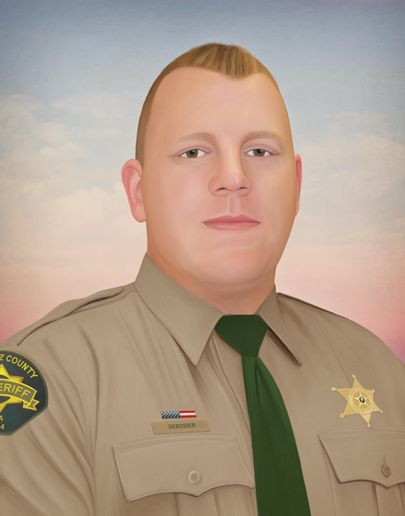 The most recent piece of art produced by Jonny Castro is of Deputy Justin DeRosier of the Cowlitz County (WA) Sheriff's Office, who was shot and killed after responding to investigate reports of a disabled motor home.