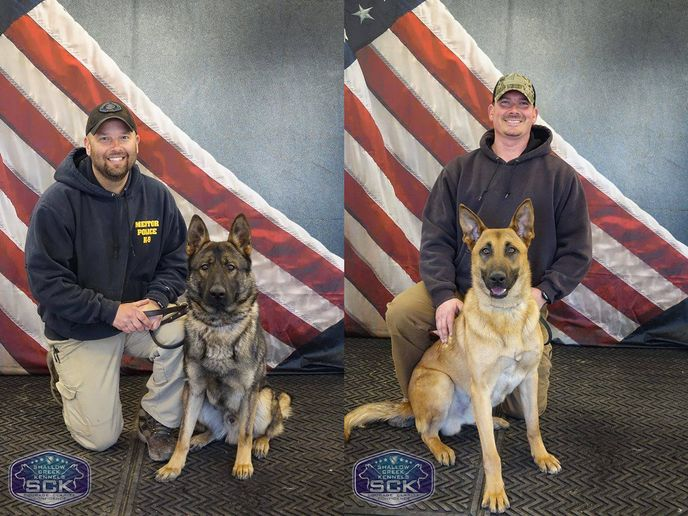 K-9 Achilles is a year-and-a-half old German Shepherd-Belgain Malinois mix from Hungary. Achilles will be working with Officer Wurgler. K-9 Bak will be working with Officer Mackey. He is a year-and-a-half old purebred Shepherd from the Czech Republic.