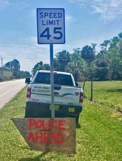 """The agency said on Facebook, """"Well played, Anonymous Sign Artist. Well played.""""  - Image courtesy of Collier County Sheriff's Office / Facebook."""