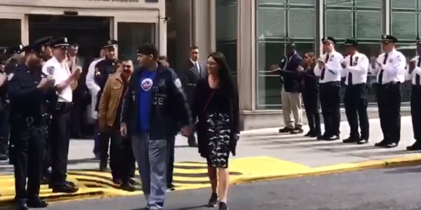 Video: NYPD Officer Wounded in Gunfight Leaves Hospital to Applause from Fellow Officers