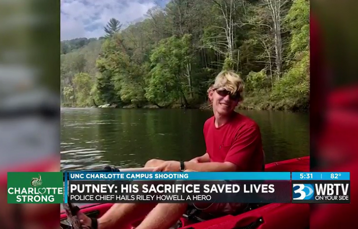 Police say Riley Howell likely saved many lives when he jumped agunman who was shooting students in an anthropology class at the University of North Carolina at Charlotte Tuesday. He was one of two students killed in the shooting. (Photo: WBTV Screen Shot)  -
