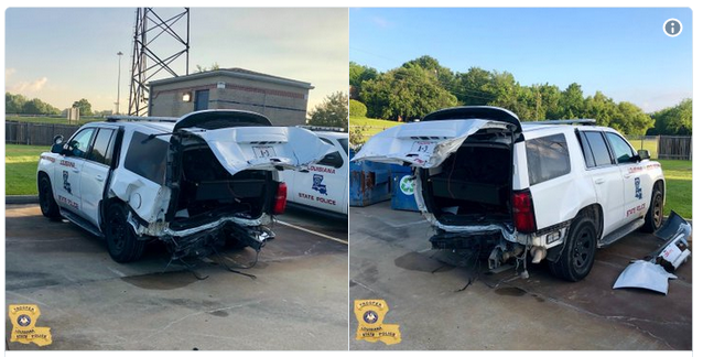 Authorities say a woman has been arrested and charged with DWI after injuring a Louisiana State trooper in an overnight crash.  - Photo: Louisiana State Police / Twitter