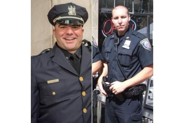 Sergeant Christopher Cornell and Police Officer Joshua Sears were among a group of Albany police officers who responded to a structure fire on Sunday.