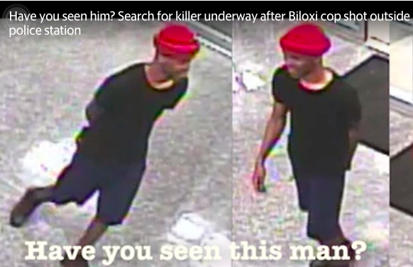 Images of suspect in murder of Biloxi, MS, police officer. The man reportedly approached the uniformed officer and opened fire. The officer died at a local hospital. A manhunt is under way for the suspect.  (Photo: Sun Herald Screen Shot)  -