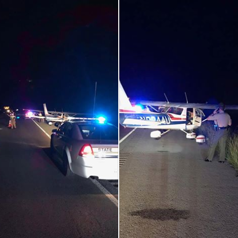 Illinois Troopers were called on Monday night to respond to a small private aircraft that made an emergency landing on an interstate highway.  - Image courtesy of Illinois State Police / Facebook.