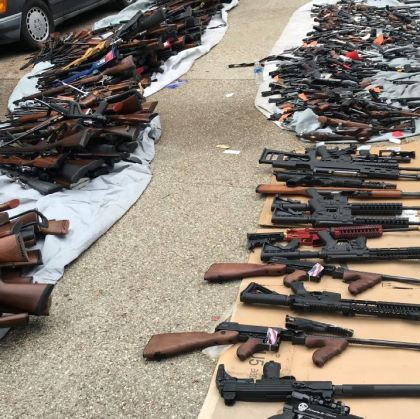 Officers seized more than 1,000 illegal firearms that were reportedly being sold to gang members.  - Photo: LAPD