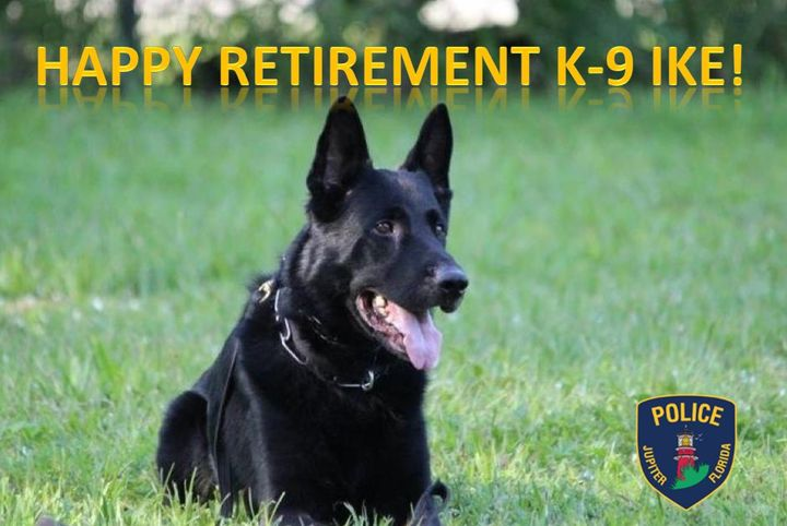 "The agency posted several images on Facebook with the caption, ""Congratulations to K-9 Ike on his retirement from the Jupiter Police Department! K-9 Ike spent seven years protecting our community to keep us safe. We hope he enjoys his retirement dog days relaxing and drinking Puppuccinos. Thank you for your service K-9 Ike.""