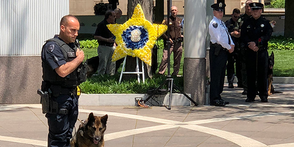 Officer and K-9 partner at last year's Police K-9 Memorial Service. (Photo: National Police Dog...