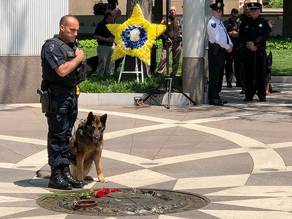 Officer and K-9 partner at last year'sPolice K-9 Memorial Service. (Photo:National Police Dog Foundation)  -