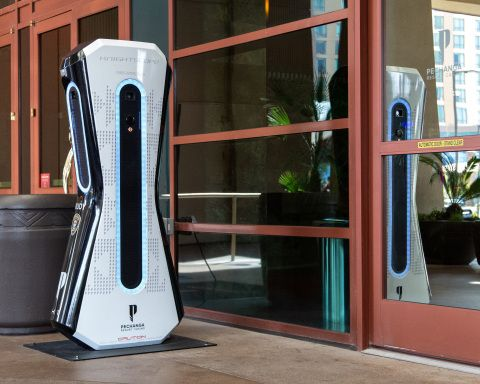 Knightscope K1 with new facial recognition technology outside Pechanga Resort Casino. (Photo: Business Wire)