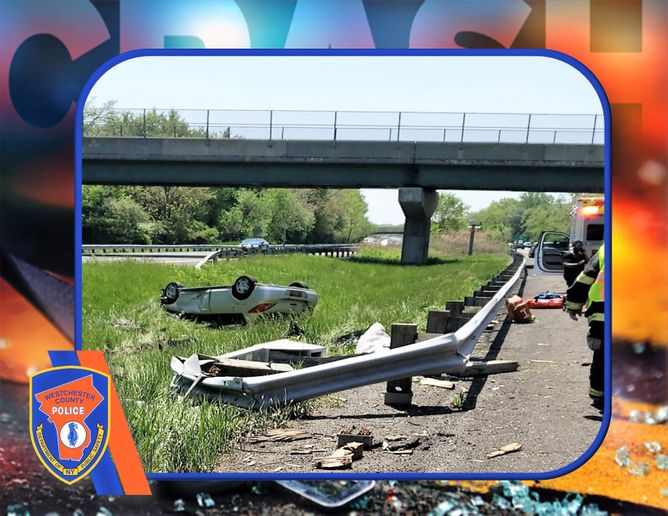 Officer Michael Fox observed the female driver to be in some sort of medical distress just before the vehicle left the roadway and flipped over in the median.