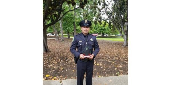 Officer Miguel Cortez was given the Distinguished Service Award by Sunnyvale DPS for saving the...