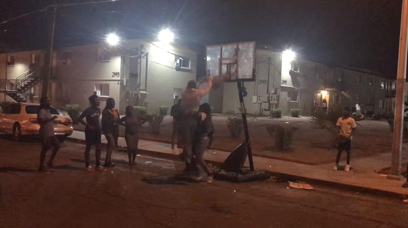 Video: Las Vegas Officer Gets Epic Slam Dunk on Street Basketball Court