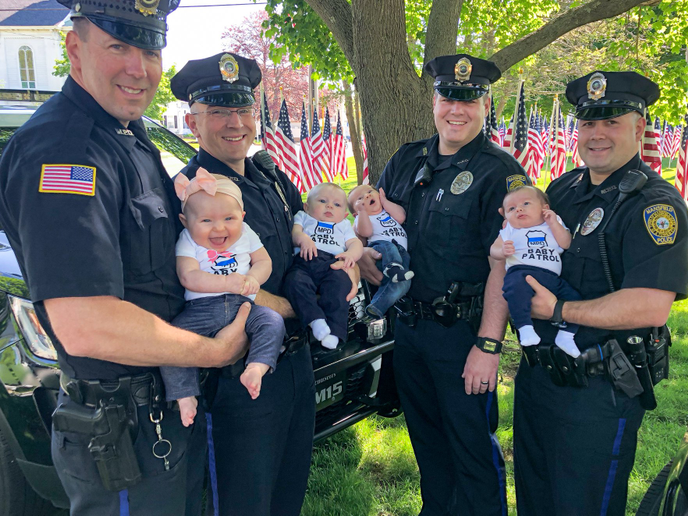 Four officers with the Mansfield (MA) Police Department have welcomed new babies into their families since December.  - Image courtesy ofMansfield PD / Facebook.
