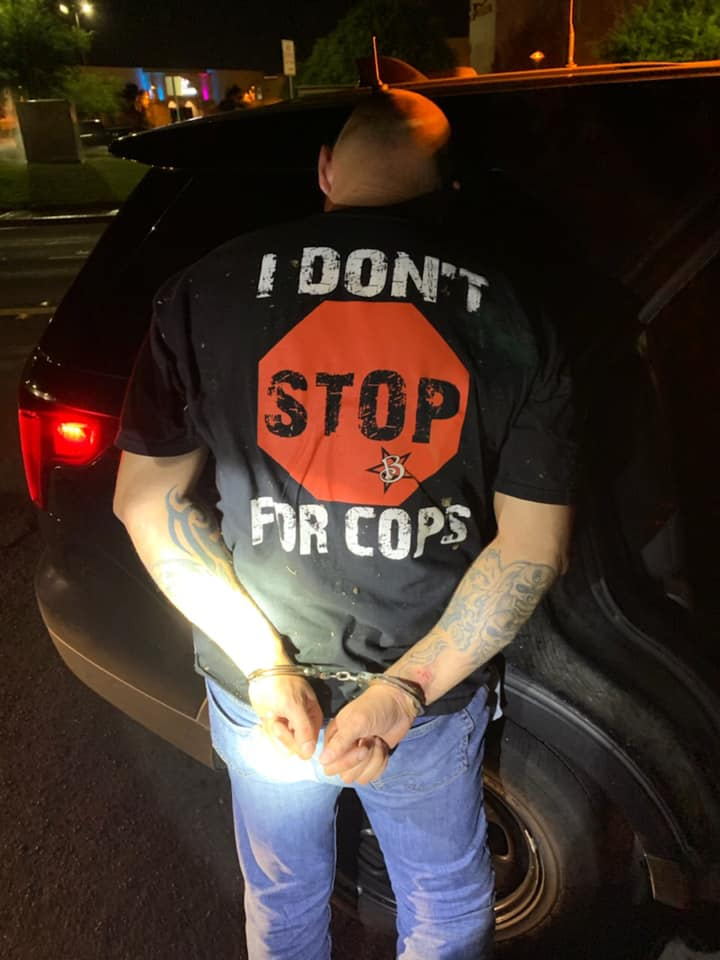 CHP Officer Arrests Motorcyclist Wearing Shirt that Says,