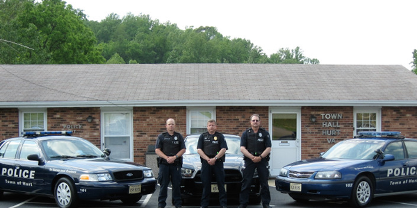 "Left to Right are Patrolman Jason Lovelace, Chief Ronald Rowland, Patrolman Henry ""Buzz"" Harmon..."