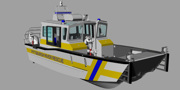 This is a rendering of the Lake Assault Boats 30-foot EMS river rescue vessel ordered by the...