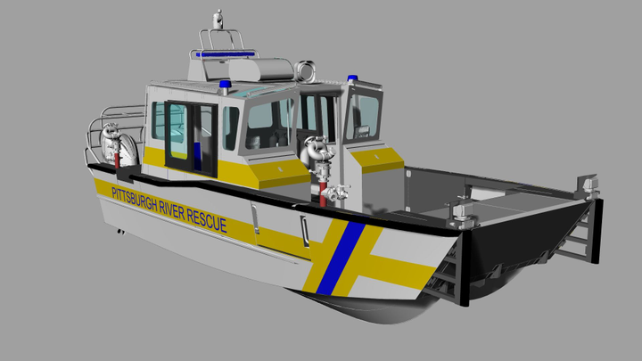 This is a rendering of the Lake Assault Boats 30-foot EMS river rescue vessel ordered by the City of Pittsburgh (PA) River Rescue Unit.