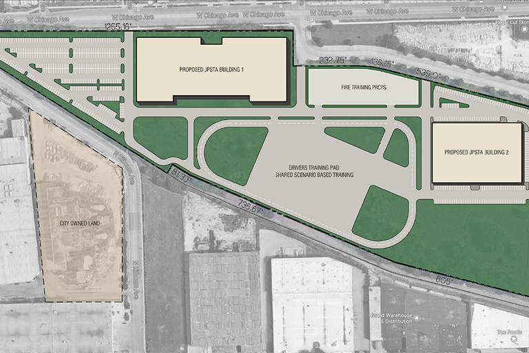 Current plans for a new $95M Chicago public safety training facility.