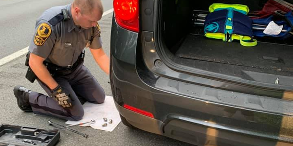 An officer with the Virginia State Police received some gratitude from a stranded motorist after...