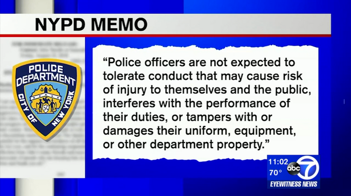 """An internal NYPD memo said """"officers are not expected to tolerate"""" such conduct.  - Photo: WABC screenshot"""