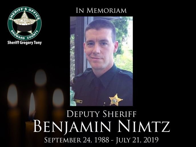 Deputy Benjamin Nimtz was killed in a traffic collision while responding to a call of a domestic dispute in Deerfield Beach on Sunday afternoon.