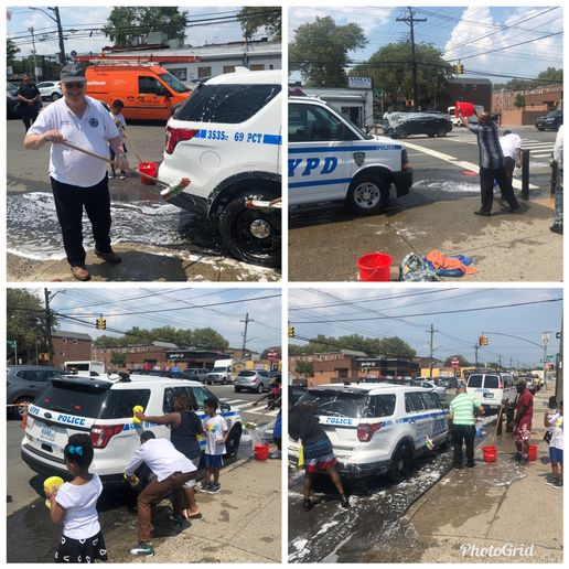 Following the incidents of officers with the New York Police Department being doused with buckets of water, a group of volunteers in the Canarsie section of Brooklyn organized a special tribute to thank officers for their service.  - Image courtesy ofNYPD 69th Precinct / Twitter.
