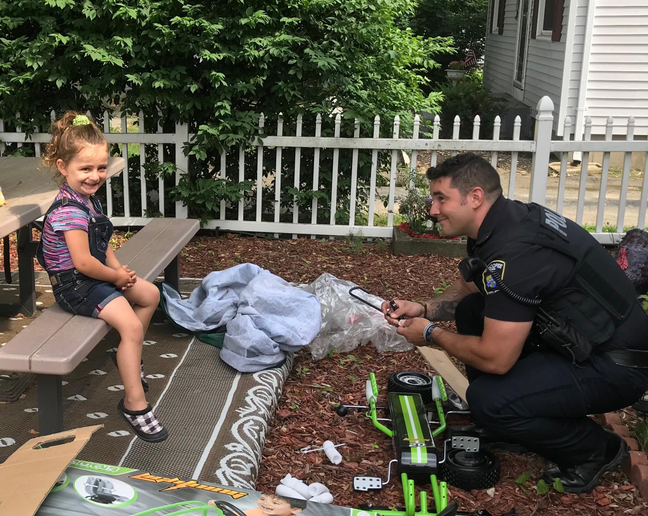 An officer with the Chicopee (MA) Police Department was called last week to take a report of a stolen vehicle—a pedal car owned by a four-year-old girl that was stolen from her front yard.  - Image courtesy ofChicopee PD / Facebook.