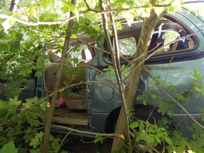 An officer with the Duluth (MN) Police Department is being lauded for his quick actions to rescue a toddler from a minivan that had crashed into a copes of trees late last week.  - Image courtesy of Duluth PD / Facebook.