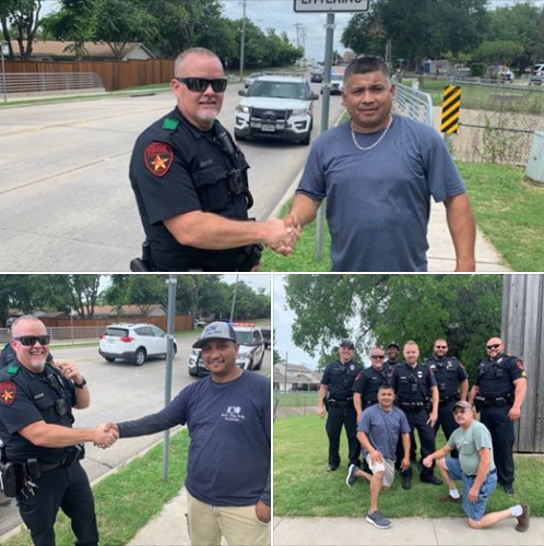 The Lewisville Police Department posted on Facebook pictures of officers and the three civilians who helped them apprehend a man suspected of stealing a vehicle and then setting off a two-hour-long search of the area.  - Image courtesy of Lewisville PD / Facebook.