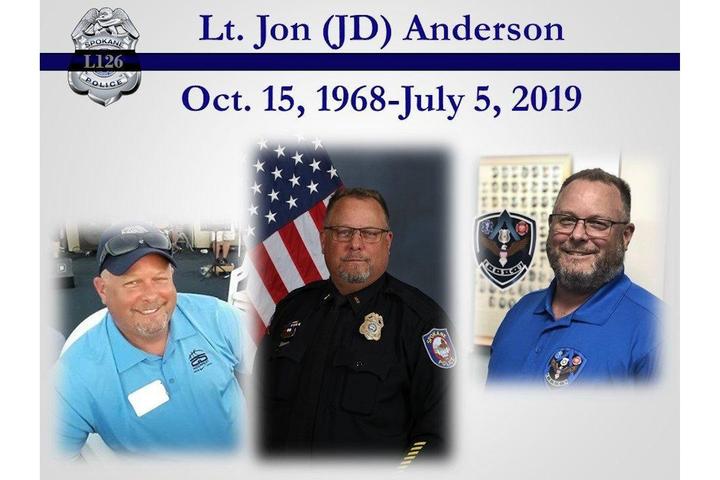 Lt. Jon (J.D.) Anderson died unexpectedly off duty.  - Photo: Spokane (WA) Police Department