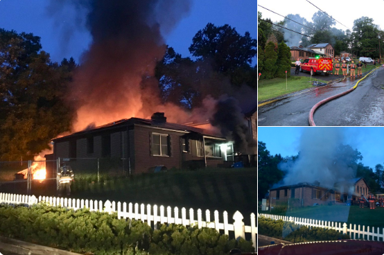 An off-duty police officer kicked in the front door of a burning home, entered the home and extracted a couple trapped inside. Photo: Montgomery County Fire & Rescue.