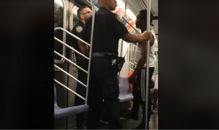 The NYC Police Benevolent Association posted on its Facebook page a video of a young man verbally abusing a police officer on a subway train.  - Image courtesy of NYC Police Benevolent Association / Facebook.