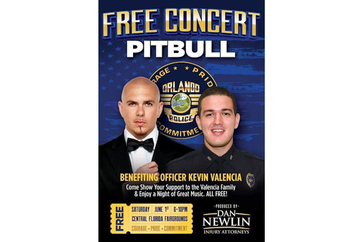 Pitbull's concert raised $1M for Officer Kevin Valencia.  - Photo: Orlando PD/Facebook