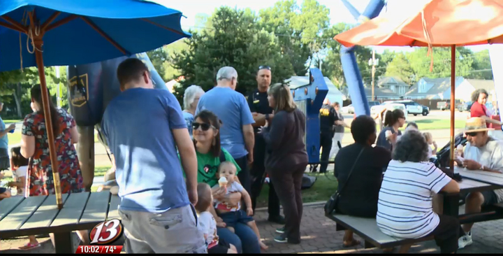 """The Topeka Police Department recently put a summertime twist on their ongoing """"coffee with a cop"""" events by shifting the location to an area Dairy Queen ice cream parlor.  - Image courtesy ofWIBW-TV (screen grab of video)."""
