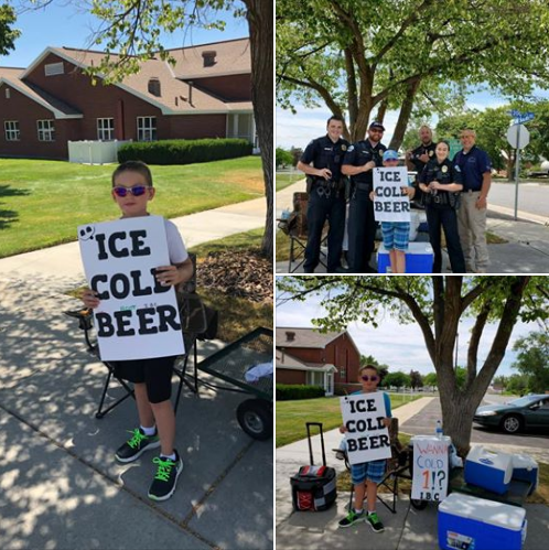 "A Utah boy eschewed the idea of operating a traditional summertime lemonade stand and instead opened on the sidewalk a stand selling ""Ice Cold Beer,"" according to the sign he held while standing beside a number of coolers.