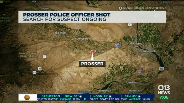 A Prosser, WA, police officer was shot while responding to reports of a possible break-in.