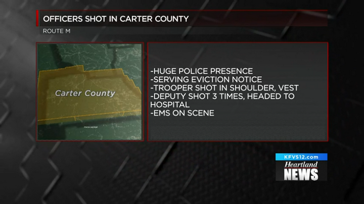 Two law enforcement officers were shot in Carter County, MO, Friday morning.