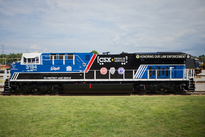The CSX Transportation Company unveiled on social media images of a locomotive newly painted to honor law enforcement officers across the country.  - Image courtesy ofCSX Transportation Company / Facebook.