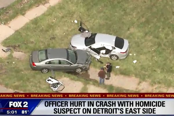 An officer with the Detroit Police Department reportedly suffered a dislocated shoulder when his vehicle was struck by another car on Tuesday afternoon.