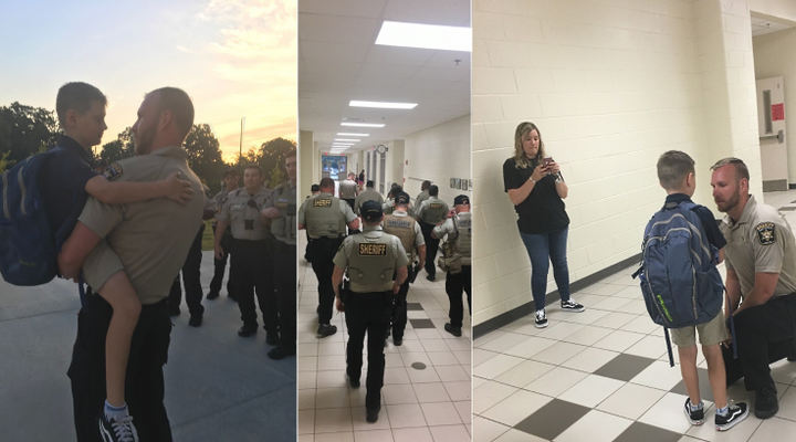 Several deputies with the Hall County Sheriff's Office escorted the son of a fallen colleague to his first day of fourth grade on Wednesday.  - Image courtesy ofHall County Sheriff's Office / Facebook.
