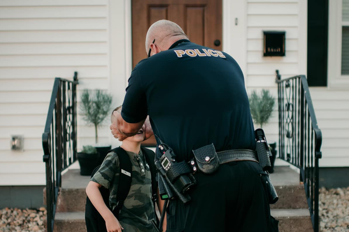 Officer Bruce Schwartz came to the home of a six-year-old boy, performed an extensive inspection, and reported to the boy that there were no monsters present. Hereturned the following day—the boy's first day of school—to follow-up.  - Image courtesy ofAmanda Williams / Facebook.