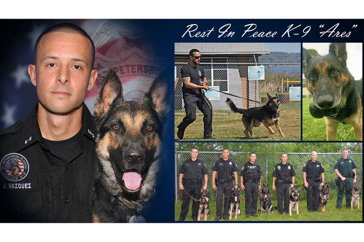 K-9 Ares worked alongside Officer Jon Vazquez for six and a half years.