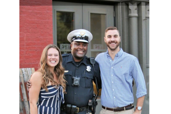 An officer with the Cincinnati Police Department is being lauded for his assistance in a young couple's wedding proposal over the weekend.    - Image courtesy ofCincinnati Police Department / Facebook.