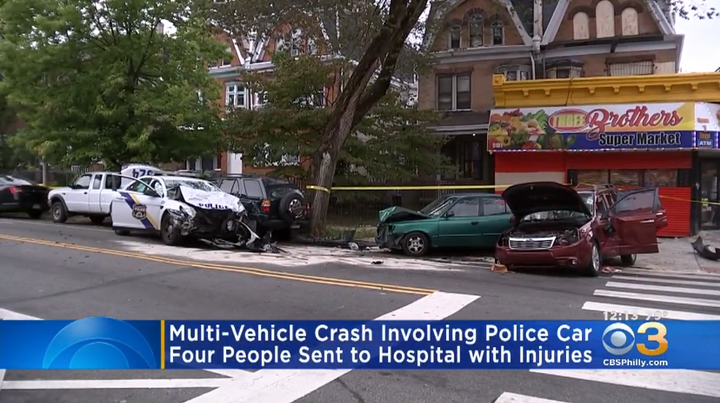 A Philadelphia police vehicle was part of a multi-vehicle collision.  - Photo: CBS3 Philly screenshot