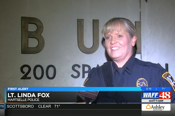 Lt. Linda Fox was given the medal of valor for saving a woman from deadly floodwaters.