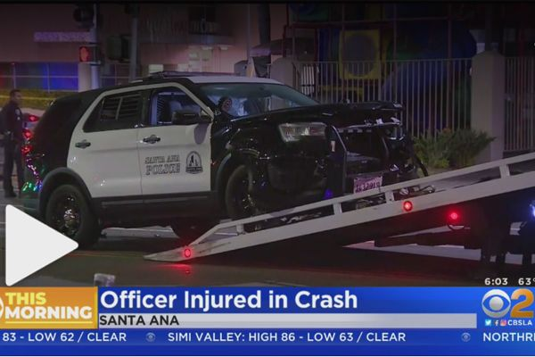 An officer with the Santa Ana (CA) Police Department was injured in a collision with another vehicle that reportedly had run a red light immediately prior to impact.