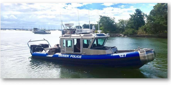 The marine unit of the Darien, CT, police rescued a kayaker Friday. (Photo: Darien PD)
