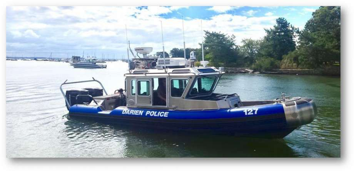 The marine unit of the Darien, CT, police rescued a kayaker Friday. (Photo: Darien PD)  -