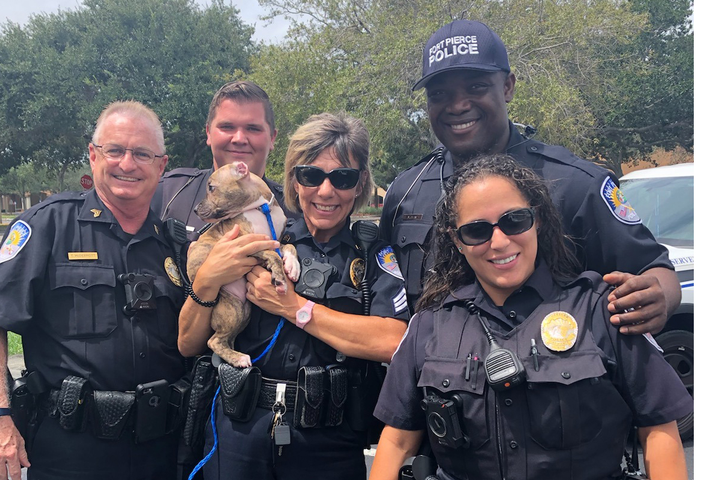 An officer with the Fort Pierce Police Department made first hurricane rescue in the jurisdiction when he adopted a puppy that was too young to be placed in a shelter as Dorian loomed in the nearby Atlantic Ocean.